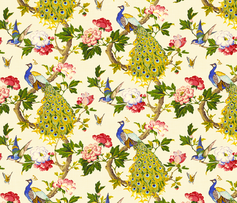 Vintage Peacocks (Cream) fabric by nouveau_bohemian on Spoonflower - custom fabric
