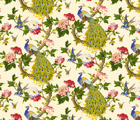 Vintage Peacocks (in Spring Lambswool) fabric by nouveau_bohemian on Spoonflower - custom fabric