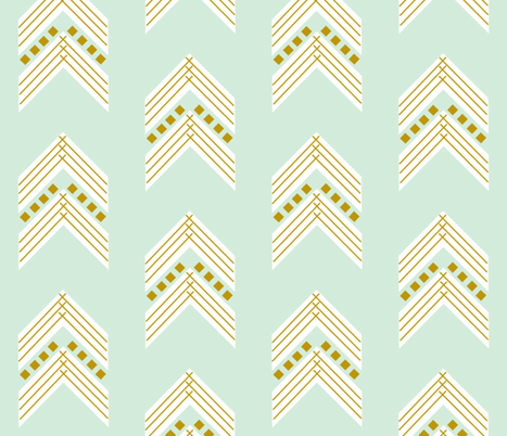 mint gold chevron large fabric by ivieclothco on Spoonflower - custom fabric
