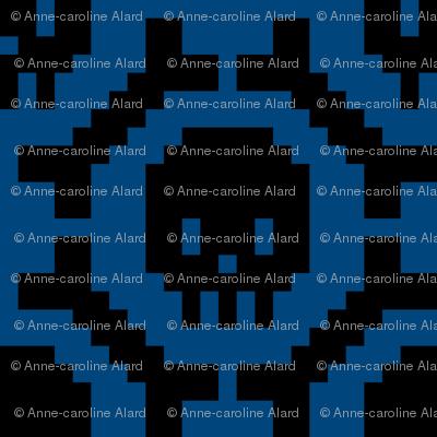 8-bit Bones and Skulls (blue)