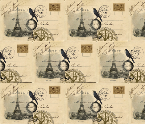 My Travels to Paris Postcard fabric by 13moons_design on Spoonflower - custom fabric