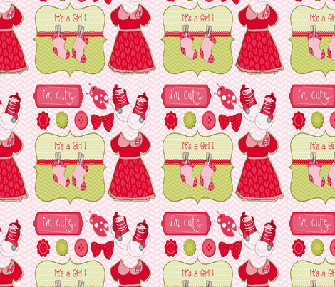 Baby Girl (Herringbone Background) fabric by popstationery&gifts on Spoonflower - custom fabric