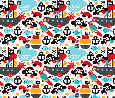 Pirate ship and parrot saling boat adventure theme for boys fabric by littlesmilemakers on Spoonflower - custom fabric
