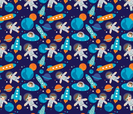 Astronaut outer space rocket fabric littlesmilemakers for Rocket fabric