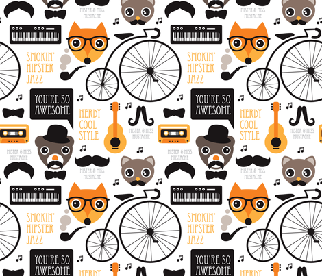 Cool fox hipster jazz music instruments illustration animals and mustache fabric by littlesmilemakers on Spoonflower - custom fabric