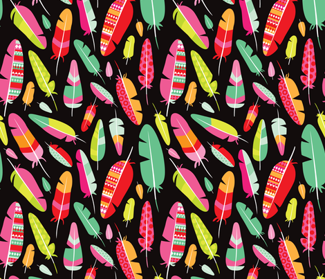 Aztec bird bohemian feather fabric by littlesmilemakers on Spoonflower - custom fabric