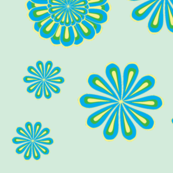 Peacock Floral on Pale blue