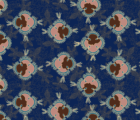 African Visage Summer Night in Midnight Blue fabric by bloomingwyldeiris on Spoonflower - custom fabric
