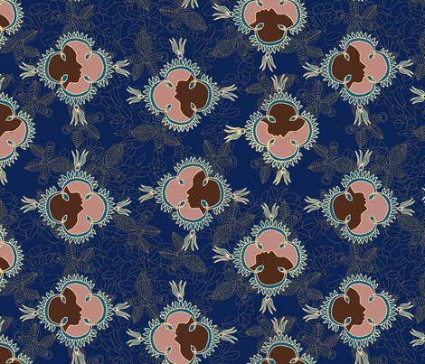 African Visage Summer Night in Midnight Blue fabric by bloomingwyldeiris on Spoonflower - custom fabric