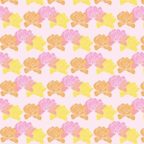 Orange yellow and pink floral