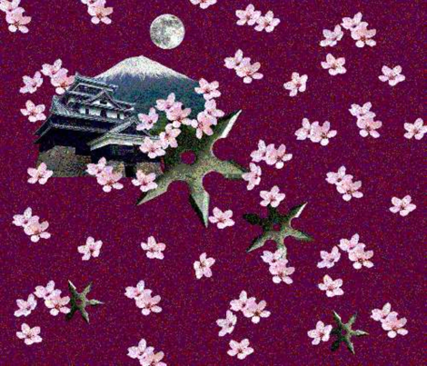 Ninja Cherry Blossoms fabric by it's_sew_me! on Spoonflower - custom fabric