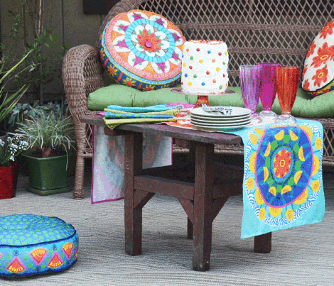 Polkadot/Mandala pillow fabric