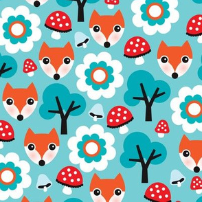 Cute retro fox fall mushroom