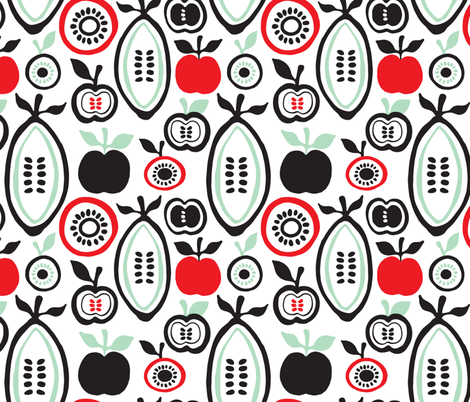 Retro fruit organic garden illustration fabric by littlesmilemakers on Spoonflower - custom fabric