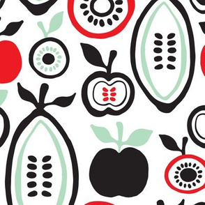 Retro fruit organic garden apples pears  illustration