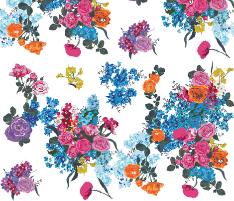 bouquet on white - custom palette fabric by katarina on Spoonflower - custom fabric