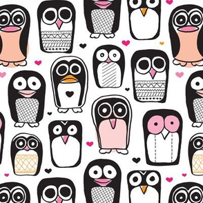 Cute penguin owl illustration