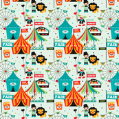 Circus animal fun fair print
