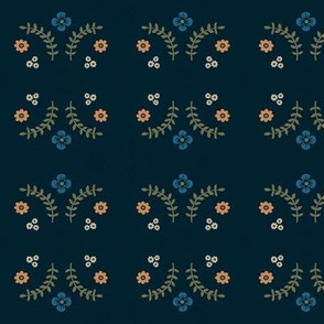 Navy Ferns and Flowers