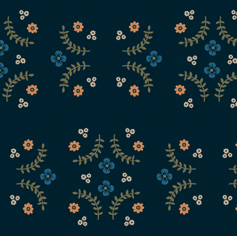 Navy Ferns and Flowers V.2 fabric by calamaristudio on Spoonflower - custom fabric