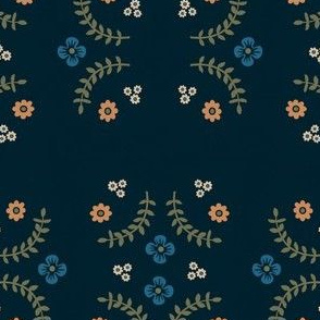 Navy Ferns and Flowers V.2
