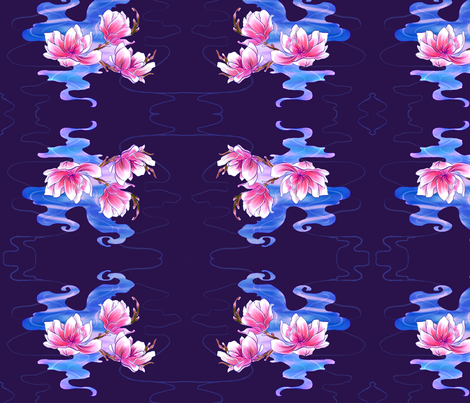 Magnolia night fabric by berkumpje on Spoonflower - custom fabric