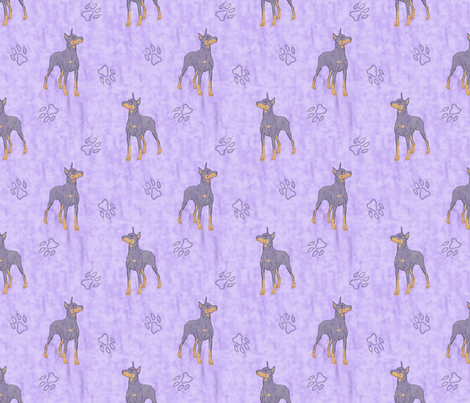 Posing Dobermans - purple