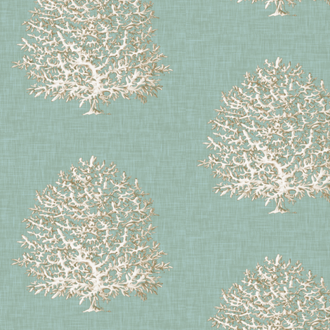 All Over Coral in Spa Green fabric by willowlanetextiles on Spoonflower - custom fabric