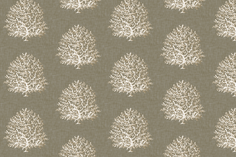 All Over Coral in Charcoal Linen fabric by willowlanetextiles on Spoonflower - custom fabric