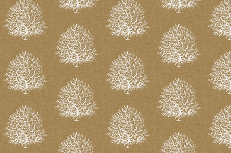 All Over Coral in Natural Linen fabric by willowlanetextiles on Spoonflower - custom fabric