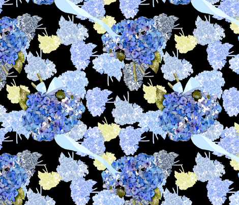 Hydrangeas on black fabric by karenharveycox on Spoonflower - custom fabric