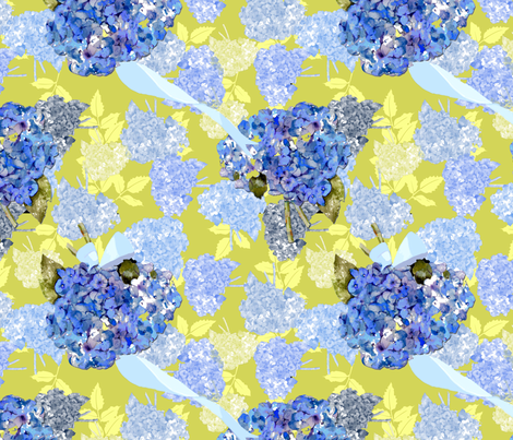 Hydrangea Garden on Green fabric by karenharveycox on Spoonflower - custom fabric