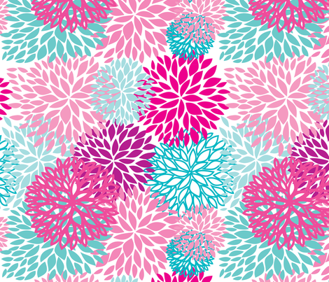 pink and blue flowers fabric by mcherevan on Spoonflower - custom fabric