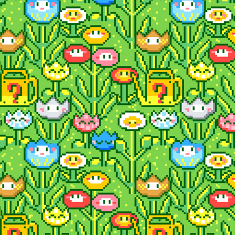 8bit Flowergarden fabric by irrimiri on Spoonflower - custom fabric