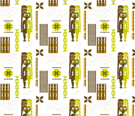 Midcentury Tikis 5a fabric by muhlenkott on Spoonflower - custom fabric