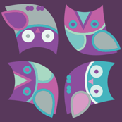 owl, owls, owls in purple