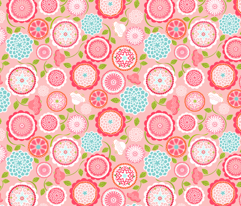 Mums for Mom Pink Aqua fabric by natitys on Spoonflower - custom fabric