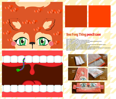 You Foxy Thing pencil case fabric by kfay on Spoonflower - custom fabric