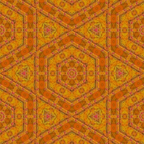 Orange Textured Hexagon Tile © Gingezel™ 2014