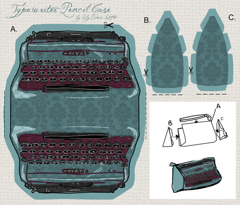 Damask Typewriter  fabric by artytypes on Spoonflower - custom fabric
