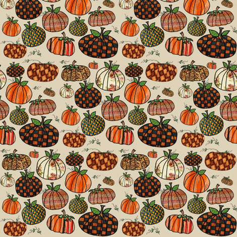 Fall Things: Pumpkins on Cappuccino Cream fabric by bohobear on Spoonflower - custom fabric
