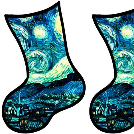 Christmas Stockings Van Gogh's Starry Night fabric by bohobear on Spoonflower - custom fabric