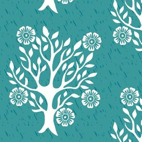 5-Flowers with white tree stamp-3 - Spring - white-MED-BLUEGREEN