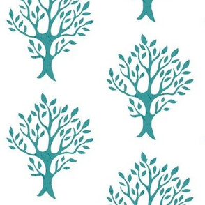 White tree stamp fabric5 - Orchard - med-bluegreen-WHITE