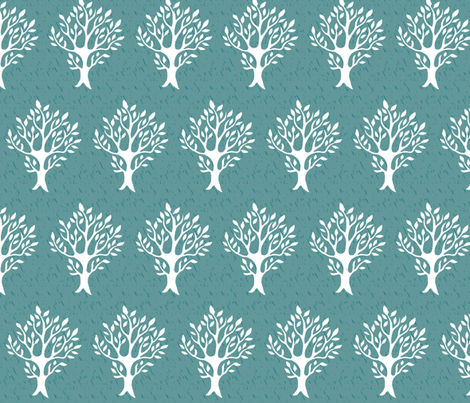 White tree stamp fabric4 - Boulevard trees - white-MED-BLUEGREEN