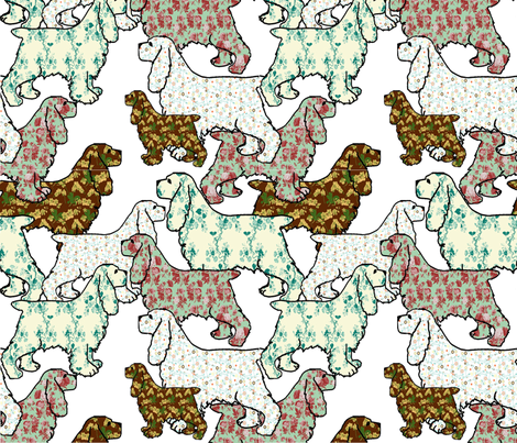 Floral patterned Cocker Spaniels fabric