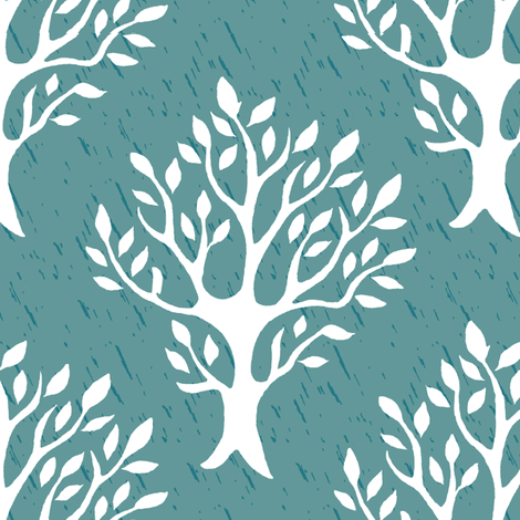 White tree stamp fabric1 - Forest - white-MED-BLUEGREEN