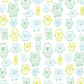 tetris owls in greens