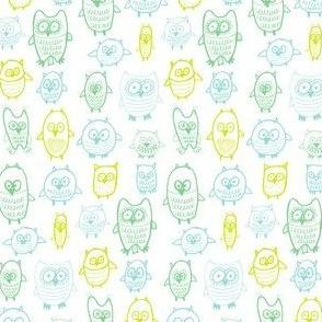 tetris owls in greens