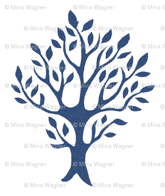 White tree stamp fabric5 - Orchard - dk-blue-WHITE
